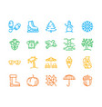 year seasons items color linear icons set vector image