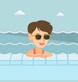 young caucasian woman relaxing in swimming pool vector image vector image