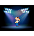A monkey holding an envelope with spotlights vector image vector image