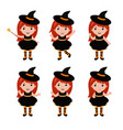 adorable little witch character in different poses vector image vector image