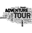 adventure tour guide text word cloud concept vector image vector image
