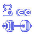 barbell kettle bell and dumbbell icons vector image vector image