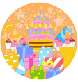 Big birthday cake and decorations vector image vector image