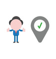 businessman character giving thumbs up with map vector image vector image