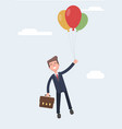 businessman is flying in a hot air balloon flat vector image