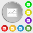 Chart icon sign Symbol on eight flat buttons vector image vector image