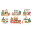 christmas interiors new year decorated room vector image vector image