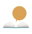 color silhouette with open book and dialogue vector image vector image