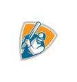 Cricket Player Batsman Batting Shield Retro vector image vector image