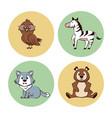 cute animals cartoon round icons
