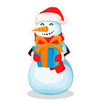 cute snowman funny cartoon character vector image