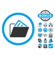 Document Folder Flat Icon with Bonus vector image vector image
