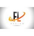 fl f l letter logo with fire flames design and vector image vector image