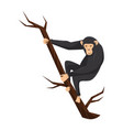 flat icon of chimpanzee on tree branch big vector image