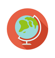 Globe flat style icon on round badge vector image vector image