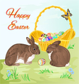 Happy Easter rabbits and easter basket vector image vector image
