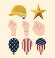 Happy labor day set icons