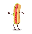 Hot Dog Dancing Isolated on White Funny Food vector image
