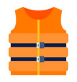 inflatable marine life jacket icon flat isolated vector image vector image