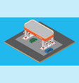 isometric gas station with cars gasoline pump on vector image vector image