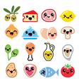 Kawaii cute food characters - meat vegetables vector image vector image