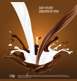 liquid chocolate and milk flow and spash mixed 3d vector image vector image