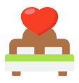 lovers bed with heart flat icon valentines day vector image vector image