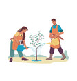 man woman watering growing tree isolated people vector image vector image
