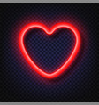 neon red heart sign light banners realistic vector image