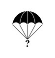 parachute of cargo black icon vector image