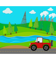 Red jeep riding on the road vector image vector image