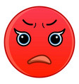 red upset emoticon icon cartoon style vector image vector image