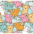 Seamless kawaii cartoon pattern with cute cats vector image vector image