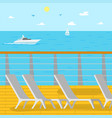 seascape ship and aquatic view chaise longues vector image vector image