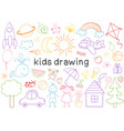set of isolated kids drawing vector image vector image