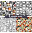Set of romantic patterns with doodle hearts vector image vector image