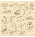 Set of spices cuisines Greece on old paper in vector image vector image