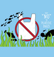 sign on the beach say no to plastic bags vector image