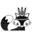 silhouette cute fox animal with feathers vector image vector image