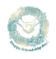sketch of handshake friendship day design vector image