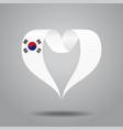 south korean flag heart-shaped ribbon vector image vector image