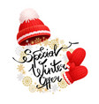 special winter offer promo banner red hat glove vector image vector image