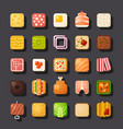 square shaped food icon set vector image vector image