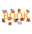 stack books on gigant letters on a white vector image