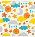 sun moon stars and clouds seamless vector image