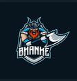 viking mascot esport logo vector image vector image
