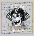 vintage grunge style skull wearing helmet hand vector image vector image