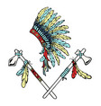 war bonnet tomahawk bird feather vector image