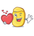 with heart potato chips mascot cartoon vector image