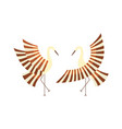 flat cartoon japan cranes flapping wings vector image